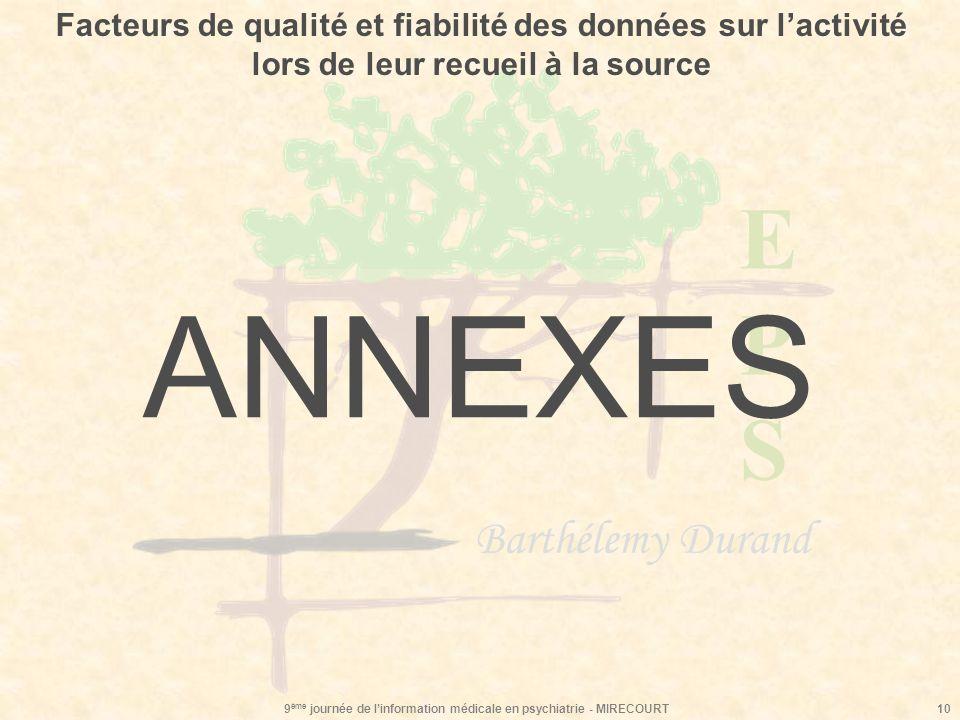 EPSEPS Barthélemy Durand 9 ème journée de linformation médicale en psychiatrie - MIRECOURT10 ANNEXES Facteurs de qualité et fiabilité des données sur