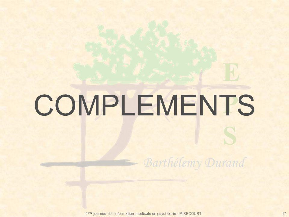 EPSEPS Barthélemy Durand 9 ème journée de linformation médicale en psychiatrie - MIRECOURT17 COMPLEMENTS