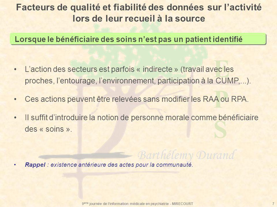 EPSEPS Barthélemy Durand 9 ème journée de linformation médicale en psychiatrie - MIRECOURT7 Facteurs de qualité et fiabilité des données sur lactivité