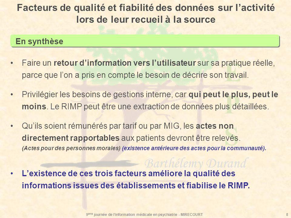 EPSEPS Barthélemy Durand 9 ème journée de linformation médicale en psychiatrie - MIRECOURT8 Facteurs de qualité et fiabilité des données sur lactivité