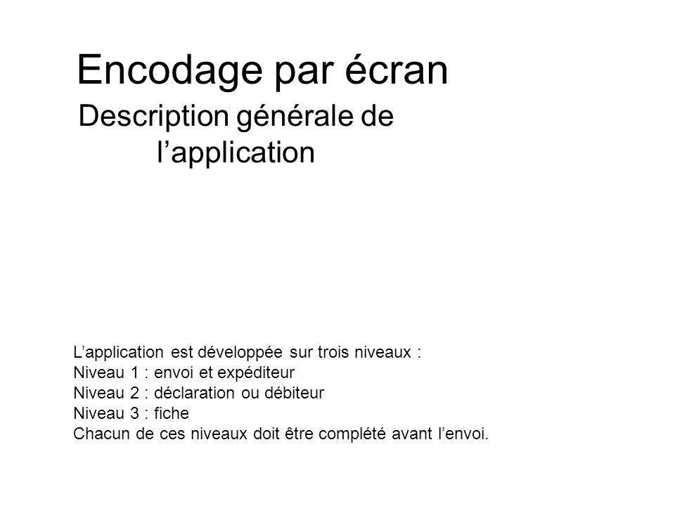Encodage par écran Description générale de lapplication Lapplication est développée sur trois niveaux : Niveau 1 : envoi et expéditeur Niveau 2 : déclaration ou débiteur Niveau 3 : fiche Chacun de ces niveaux doit être complété avant lenvoi.