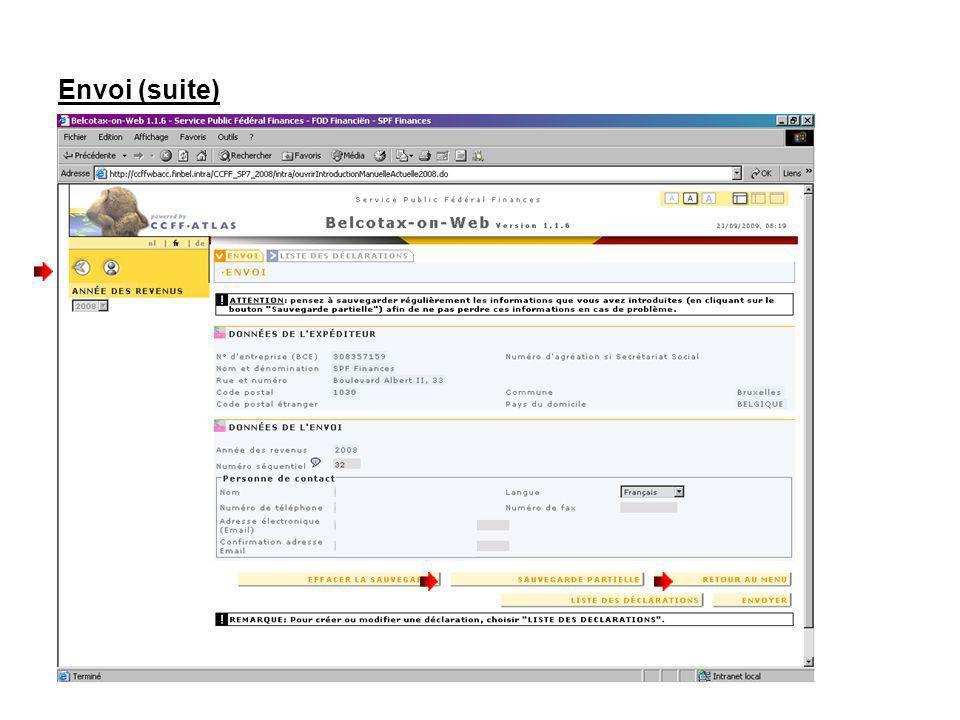 Envoi (suite) Pour quitter lapplication, cliquez sur : Pour accéder à dautres fonctionnalités du menu cliquez sur RETOUR AU MENU.