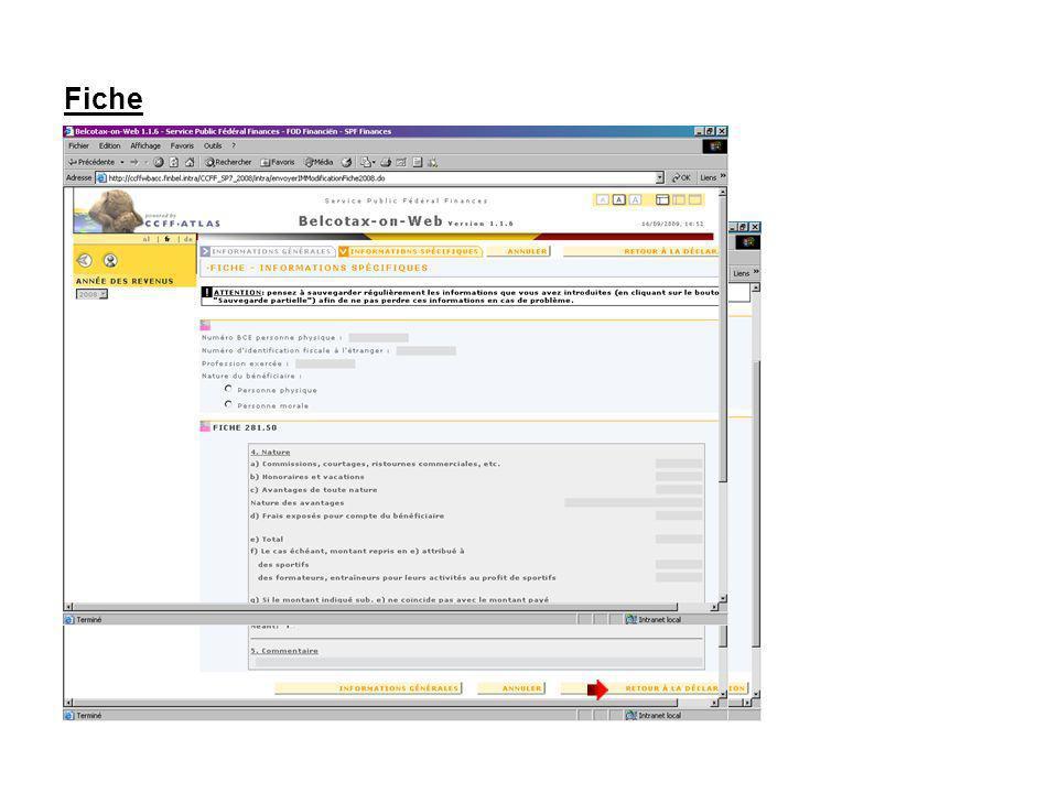 Fiche Encodez le contenu spécifique de la fiche et cliquez sur le bouton RETOUR A LA DECLARATION