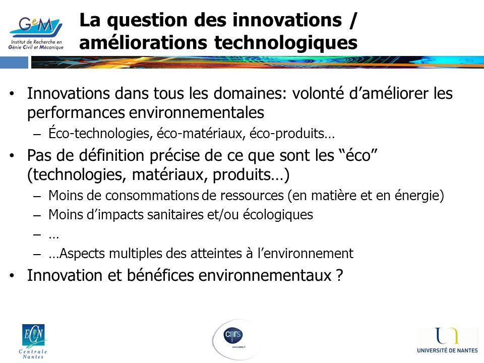 La question des innovations / améliorations technologiques Innovations dans tous les domaines: volonté daméliorer les performances environnementales –