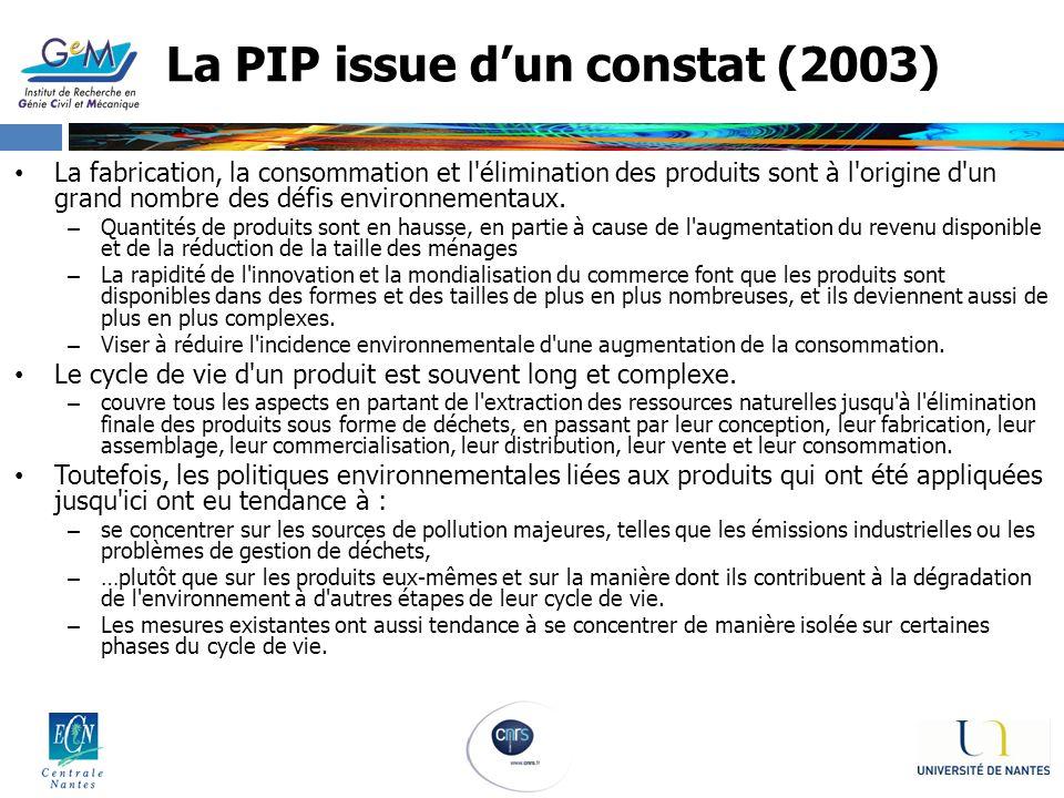 La PIP issue dun constat (2003) La fabrication, la consommation et l'élimination des produits sont à l'origine d'un grand nombre des défis environneme