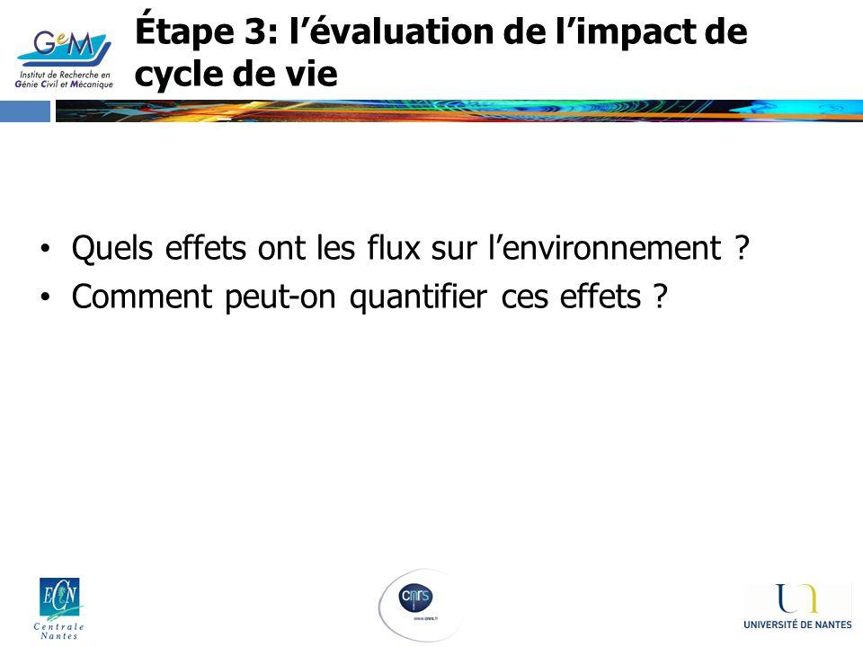 Étape 3: lévaluation de limpact de cycle de vie Quels effets ont les flux sur lenvironnement ? Comment peut-on quantifier ces effets ?