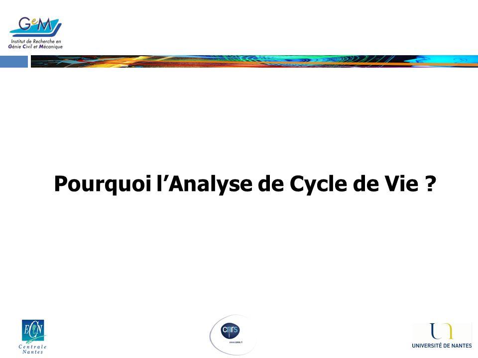 Pourquoi lAnalyse de Cycle de Vie ?