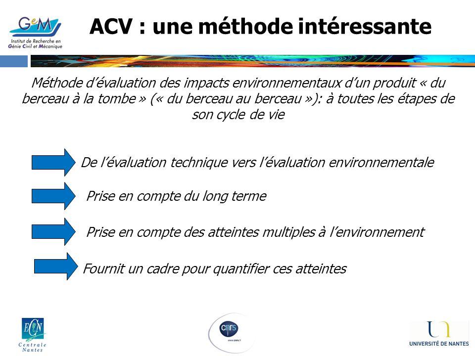 ACV : une méthode intéressante Méthode dévaluation des impacts environnementaux dun produit « du berceau à la tombe » (« du berceau au berceau »): à t