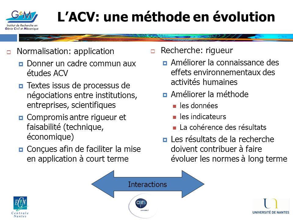 LACV: une méthode en évolution Recherche: rigueur Améliorer la connaissance des effets environnementaux des activités humaines Améliorer la méthode le