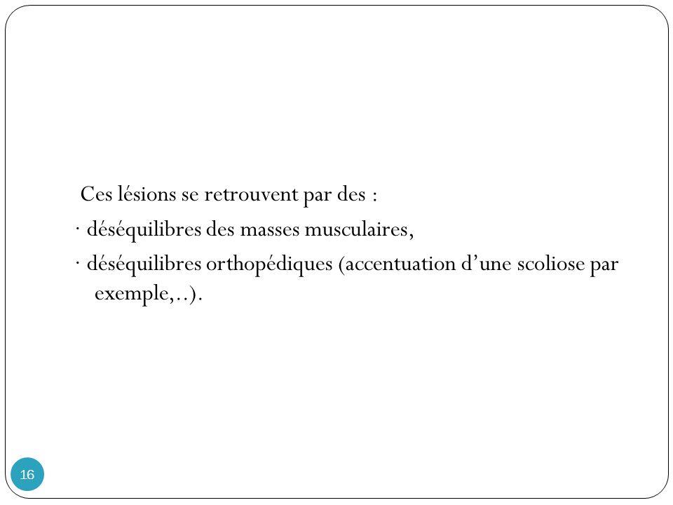 16 Ces lésions se retrouvent par des : · déséquilibres des masses musculaires, · déséquilibres orthopédiques (accentuation dune scoliose par exemple,..).