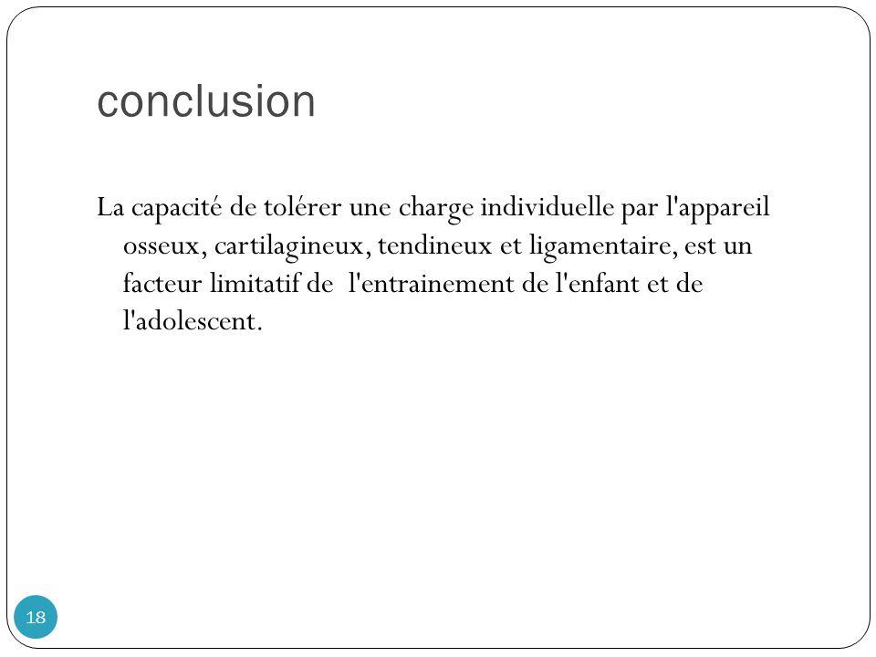 conclusion 18 La capacité de tolérer une charge individuelle par l'appareil osseux, cartilagineux, tendineux et ligamentaire, est un facteur limitatif