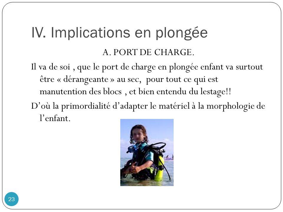 IV. Implications en plongée 23 A. PORT DE CHARGE. Il va de soi, que le port de charge en plongée enfant va surtout être « dérangeante » au sec, pour t