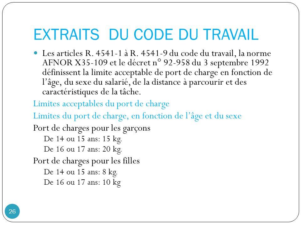 EXTRAITS DU CODE DU TRAVAIL 26 Les articles R.4541-1 à R.