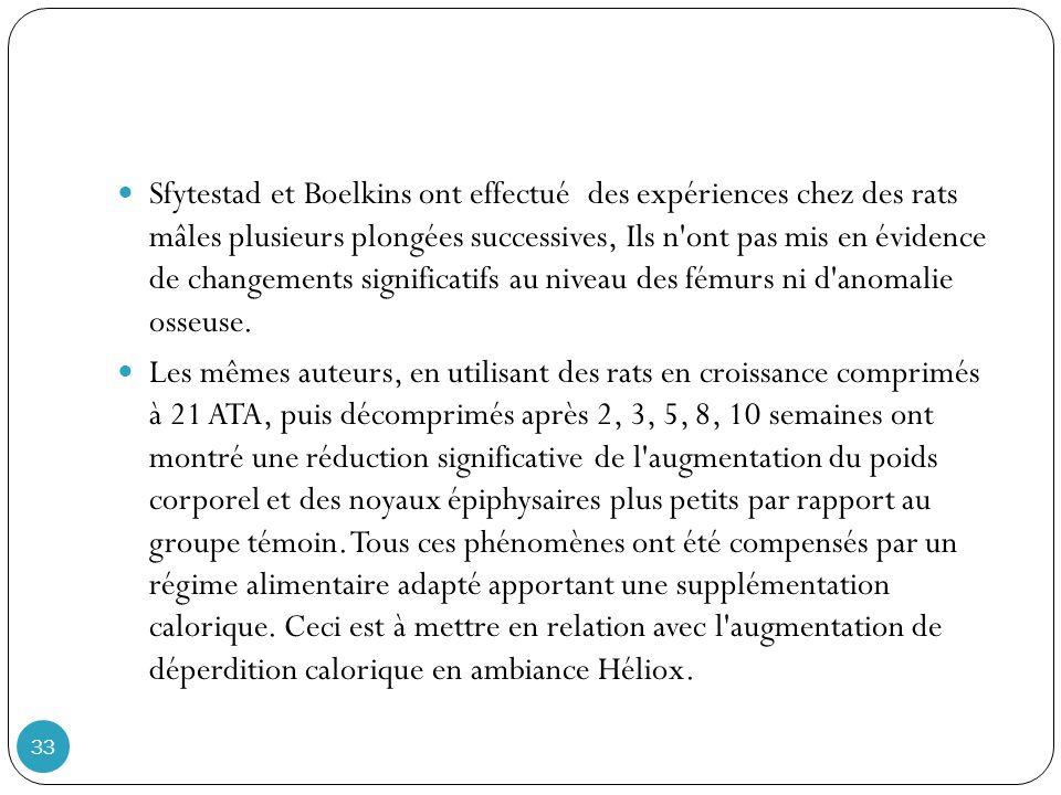 33 Sfytestad et Boelkins ont effectué des expériences chez des rats mâles plusieurs plongées successives, Ils n ont pas mis en évidence de changements significatifs au niveau des fémurs ni d anomalie osseuse.