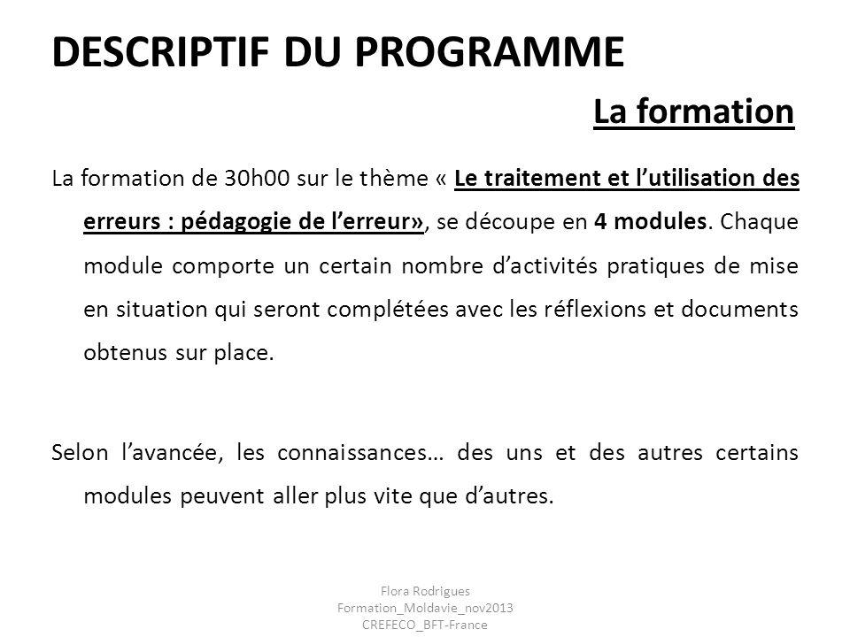 DESCRIPTIF DU PROGRAMME La formation La formation de 30h00 sur le thème « Le traitement et lutilisation des erreurs : pédagogie de lerreur», se découp