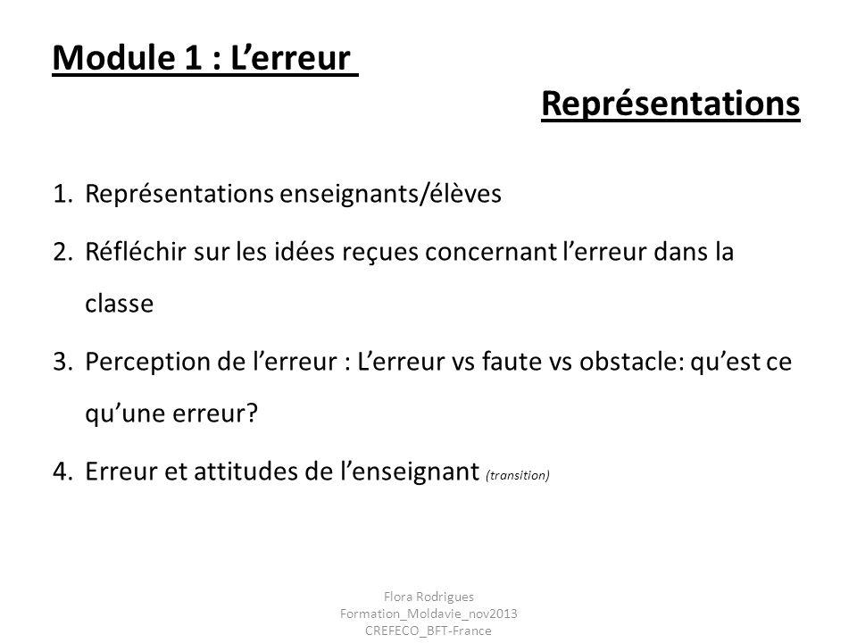 Module 1 : Lerreur Représentations 1.Représentations enseignants/élèves 2.Réfléchir sur les idées reçues concernant lerreur dans la classe 3. Percepti