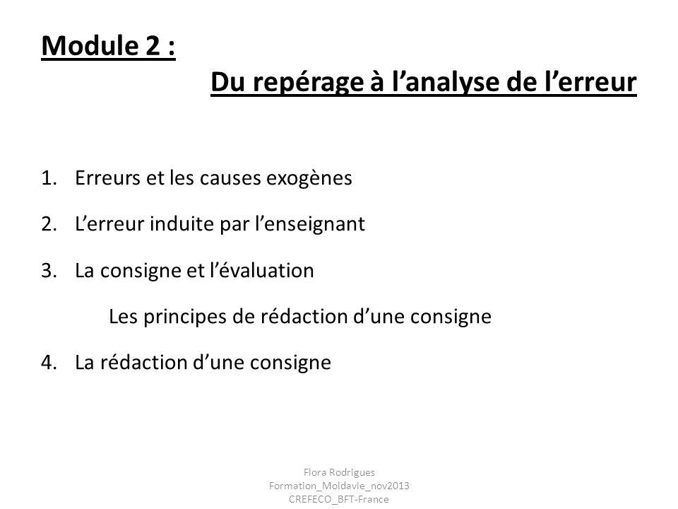 Module 2 : Du repérage à lanalyse de lerreur 1.Erreurs et les causes exogènes 2.Lerreur induite par lenseignant 3.La consigne et lévaluation Les princ
