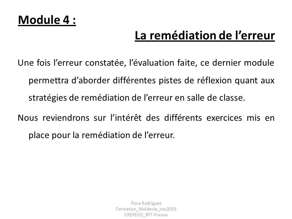 Module 4 : La remédiation de lerreur Une fois lerreur constatée, lévaluation faite, ce dernier module permettra daborder différentes pistes de réflexi