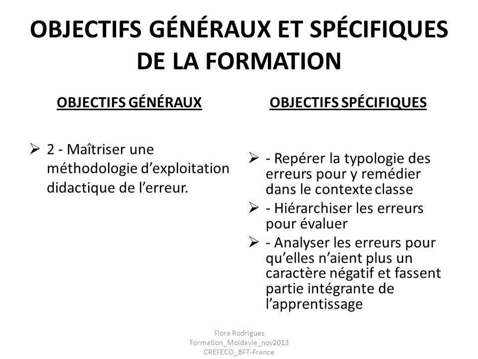 OBJECTIFS GÉNÉRAUX ET SPÉCIFIQUES DE LA FORMATION OBJECTIFS GÉNÉRAUX 2 - Maîtriser une méthodologie dexploitation didactique de lerreur. OBJECTIFS SPÉ