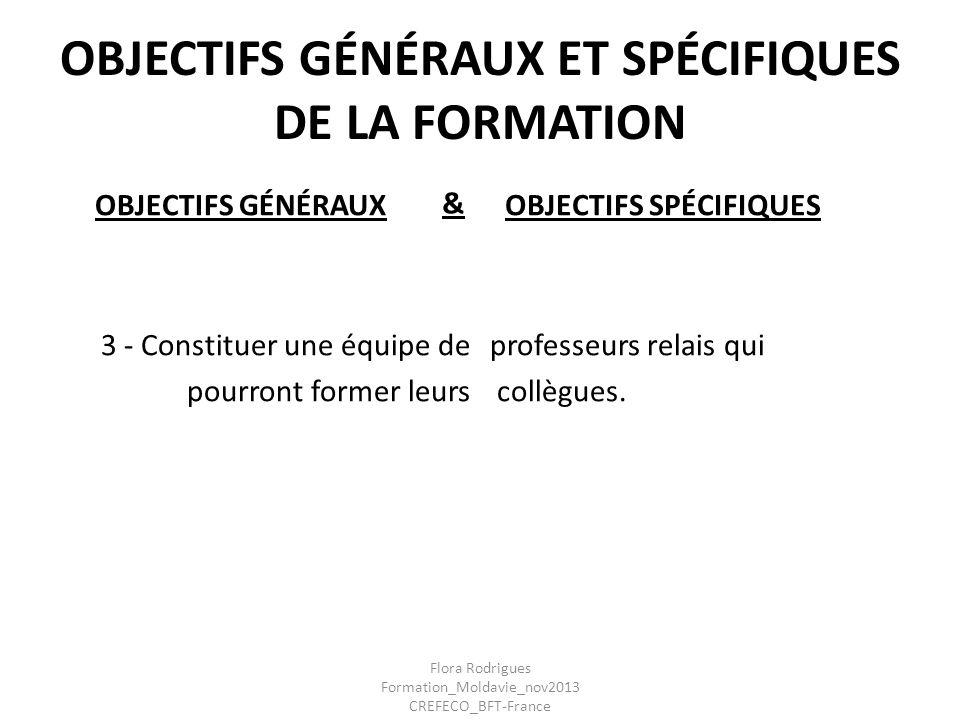 OBJECTIFS GÉNÉRAUX ET SPÉCIFIQUES DE LA FORMATION OBJECTIFS GÉNÉRAUX 3 - Constituer une équipe de pourront former leurs OBJECTIFS SPÉCIFIQUES professe
