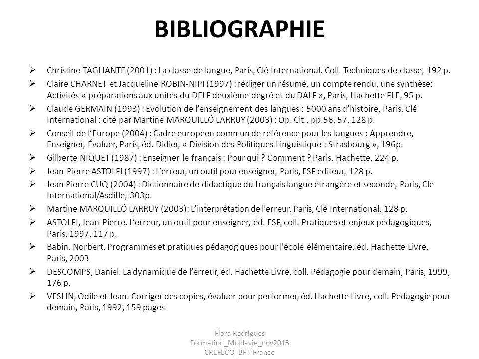 BIBLIOGRAPHIE Christine TAGLIANTE (2001) : La classe de langue, Paris, Clé International. Coll. Techniques de classe, 192 p. Claire CHARNET et Jacquel