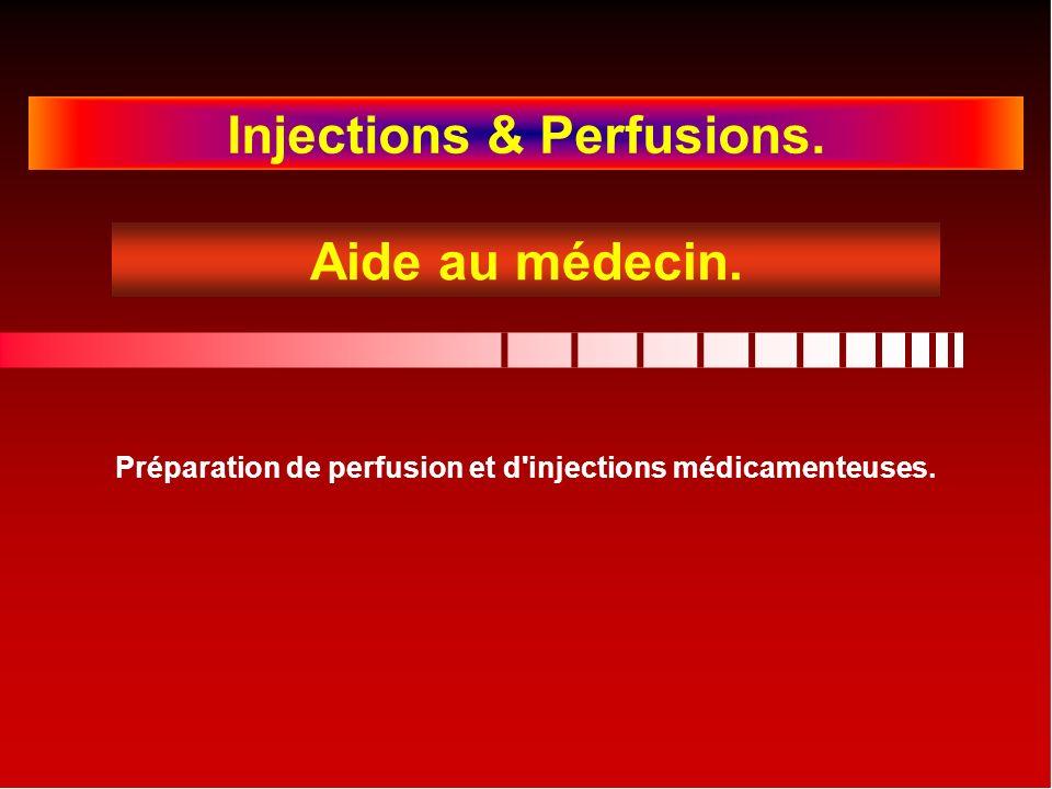Injections & Perfusions. Préparation de perfusion et d injections médicamenteuses. Aide au médecin.