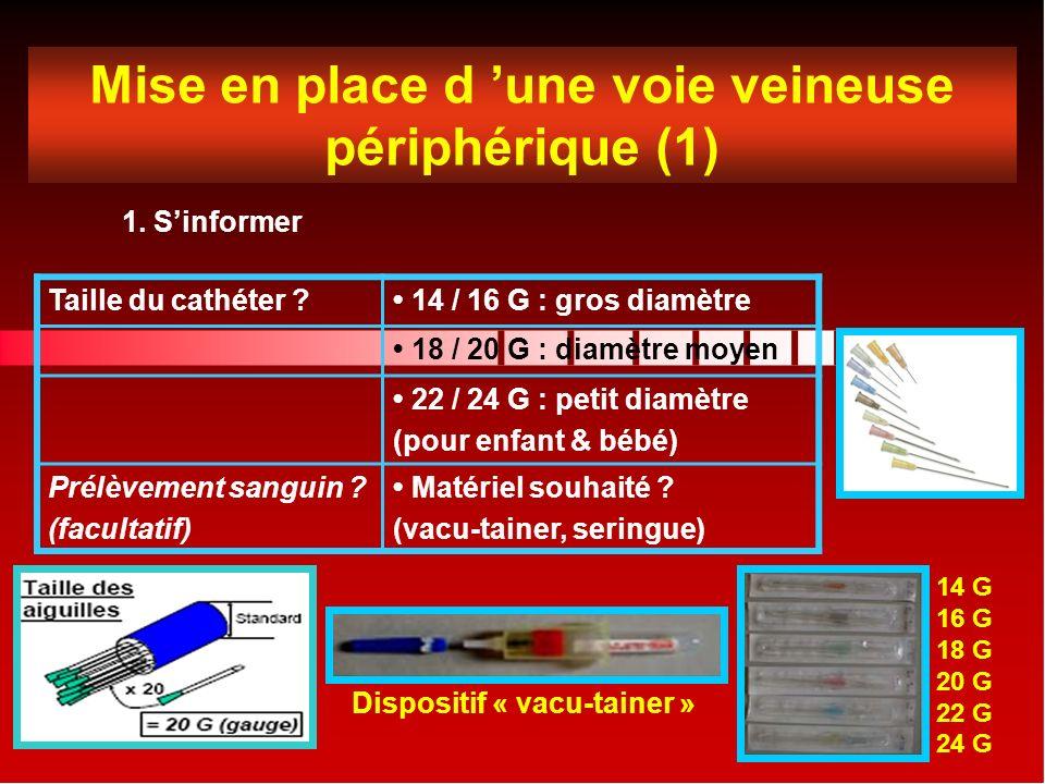Mise en place d une voie veineuse périphérique (1) 1.
