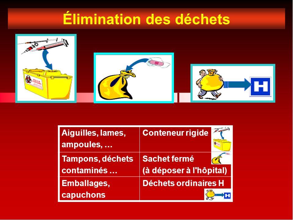 Élimination des déchets Aiguilles, lames, ampoules, … Conteneur rigide Tampons, déchets contaminés … Sachet fermé (à déposer à l hôpital) Emballages, capuchons Déchets ordinaires H