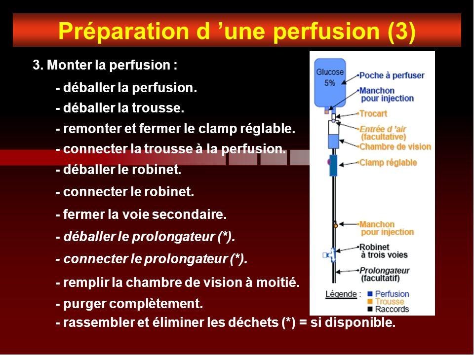 Préparation d une perfusion (3) 3.Monter la perfusion : - déballer la perfusion.