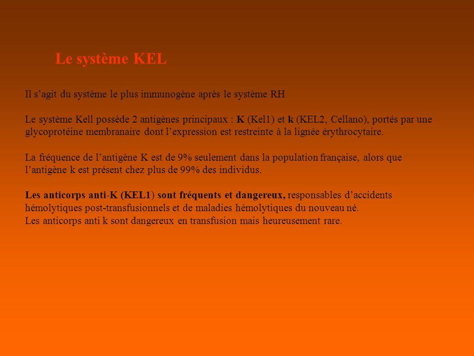 Le système KEL Il sagit du système le plus immunogène après le système RH Le système Kell possède 2 antigènes principaux : K (Kel1) et k (KEL2, Cellano), portés par une glycoprotéine membranaire dont lexpression est restreinte à la lignée érythrocytaire.