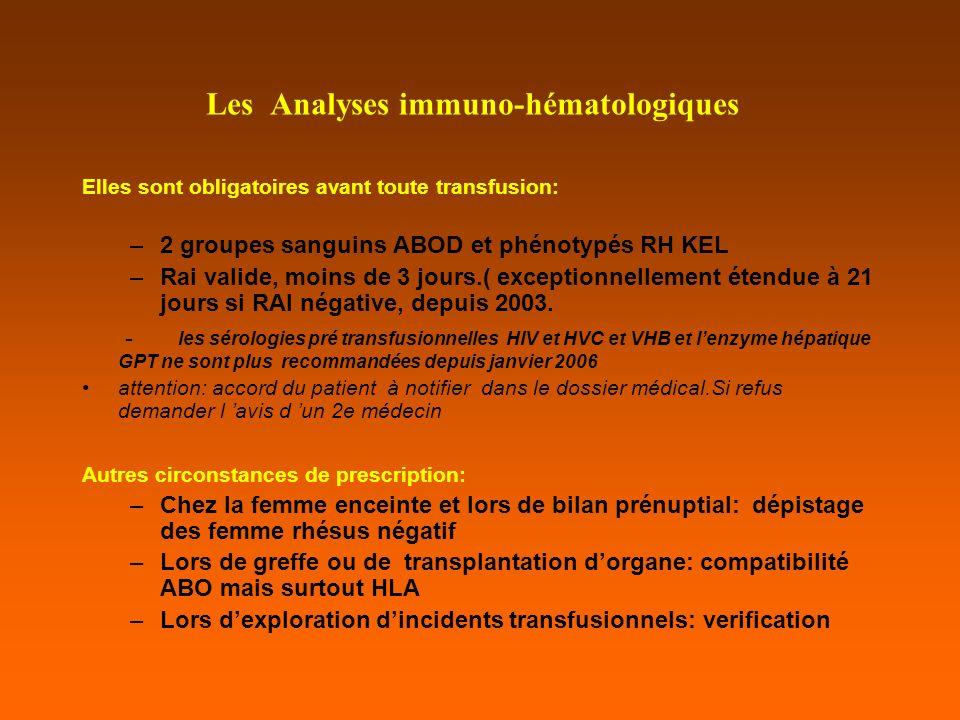Les Analyses immuno-hématologiques Elles sont obligatoires avant toute transfusion: –2 groupes sanguins ABOD et phénotypés RH KEL –Rai valide, moins de 3 jours.( exceptionnellement étendue à 21 jours si RAI négative, depuis 2003.