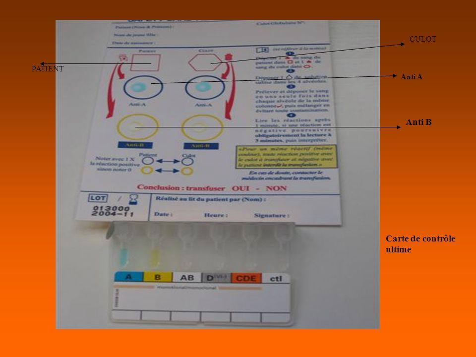 Anti A Anti B PATIENT CULOT Carte de contrôle ultime