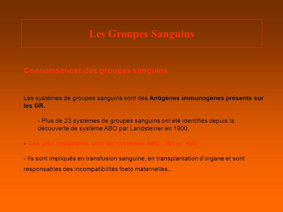 Les Groupes Sanguins Connaissances des groupes sanguins Les systèmes de groupes sanguins sont des Antigènes immunogènes présents sur les GR.