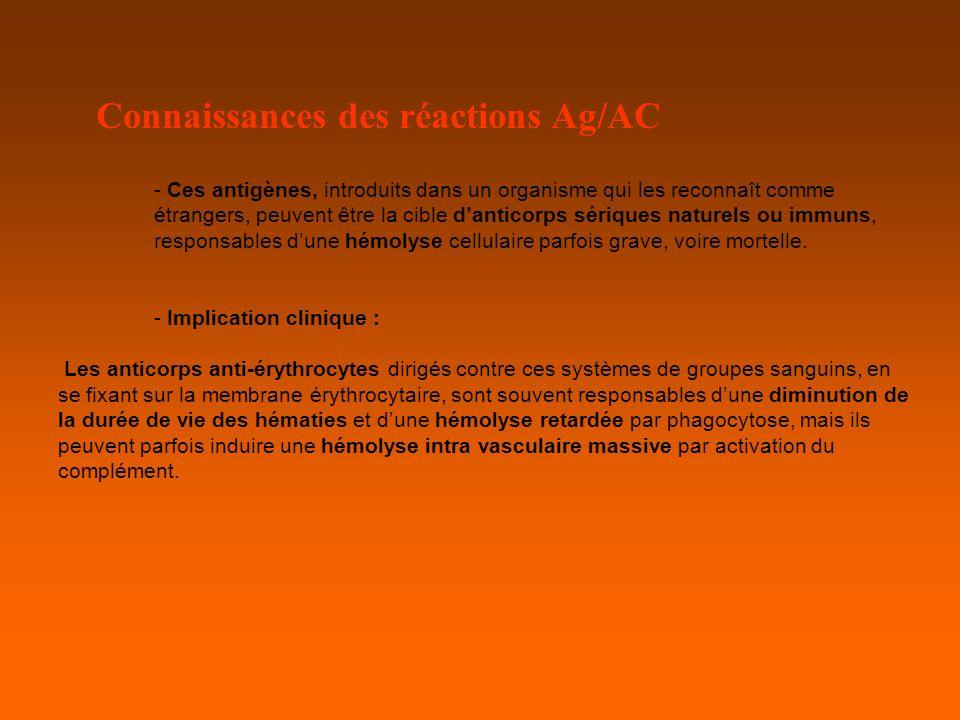 Connaissances des réactions Ag/AC - Ces antigènes, introduits dans un organisme qui les reconnaît comme étrangers, peuvent être la cible danticorps sériques naturels ou immuns, responsables dune hémolyse cellulaire parfois grave, voire mortelle.