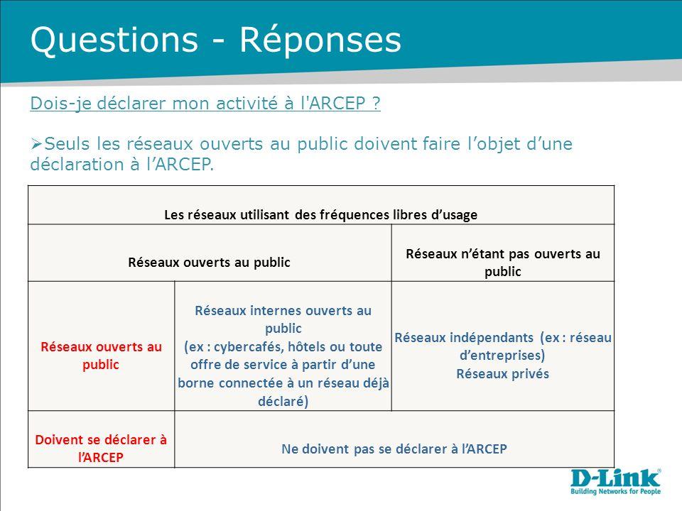 Questions - Réponses Dois-je déclarer mon activité à l ARCEP .