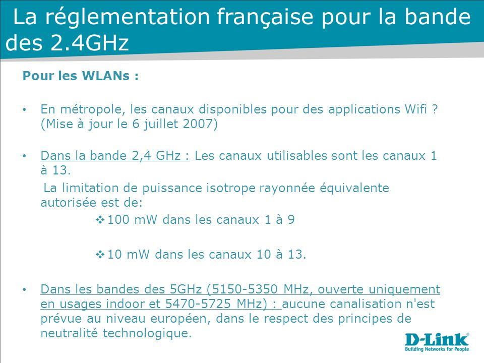 La réglementation française pour la bande des 2.4GHz Pour les WLANs : En métropole, les canaux disponibles pour des applications Wifi .