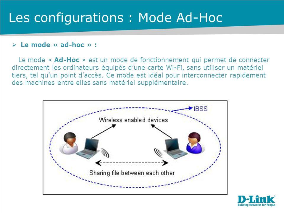 Les configurations : Mode Ad-Hoc Le mode « ad-hoc » : Le mode « Ad-Hoc » est un mode de fonctionnement qui permet de connecter directement les ordinateurs équipés dune carte Wi-Fi, sans utiliser un matériel tiers, tel quun point daccès.
