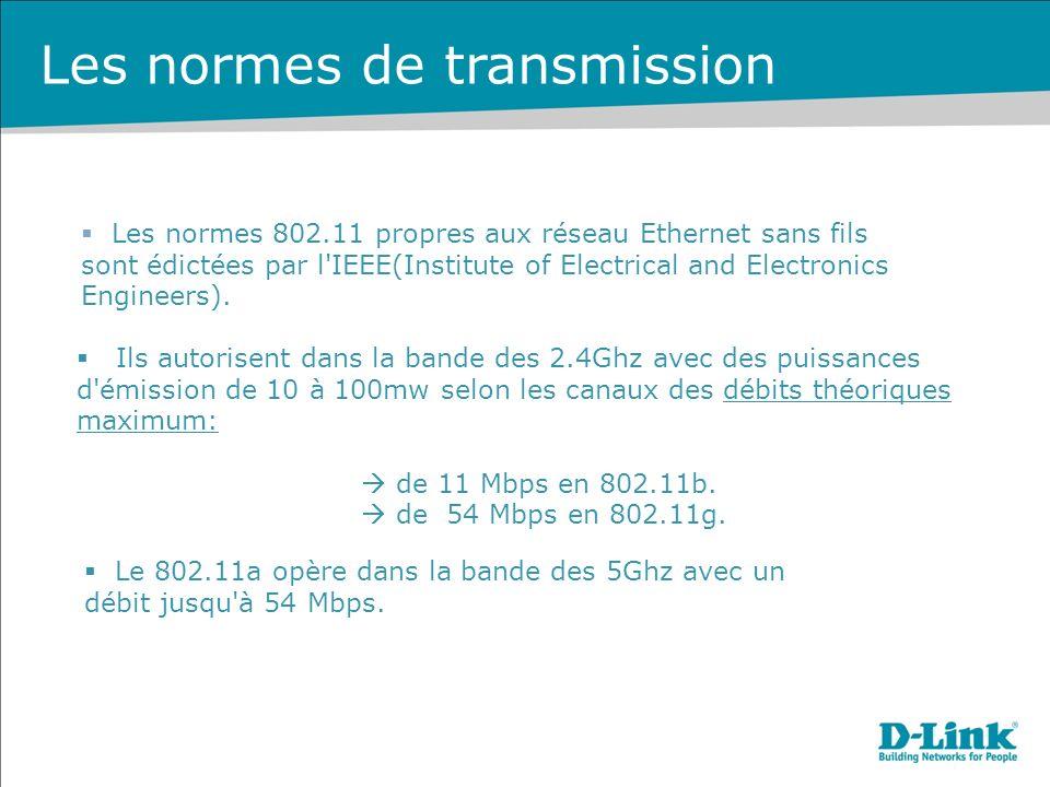Les normes de transmission Les normes 802.11 propres aux réseau Ethernet sans fils sont édictées par l IEEE(Institute of Electrical and Electronics Engineers).