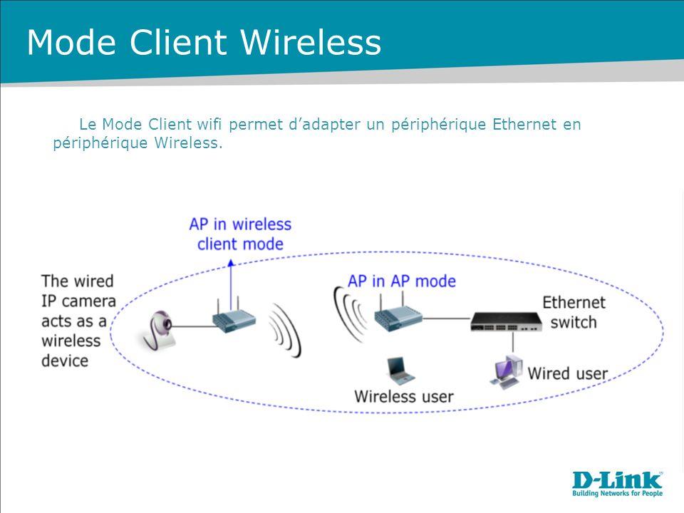 Mode Client Wireless Le Mode Client wifi permet dadapter un périphérique Ethernet en périphérique Wireless.