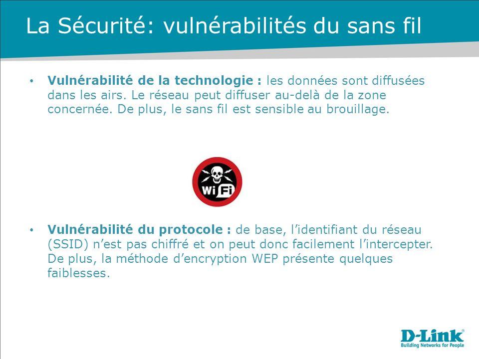 La Sécurité: vulnérabilités du sans fil Vulnérabilité de la technologie : les données sont diffusées dans les airs.