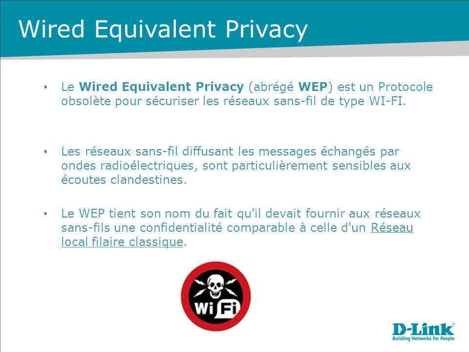 Le Wired Equivalent Privacy (abrégé WEP) est un Protocole obsolète pour sécuriser les réseaux sans-fil de type WI-FI.