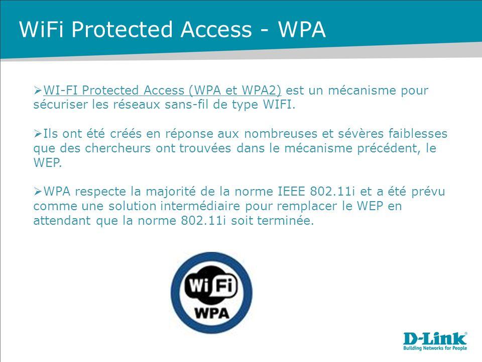 WiFi Protected Access - WPA WI-FI Protected Access (WPA et WPA2) est un mécanisme pour sécuriser les réseaux sans-fil de type WIFI.