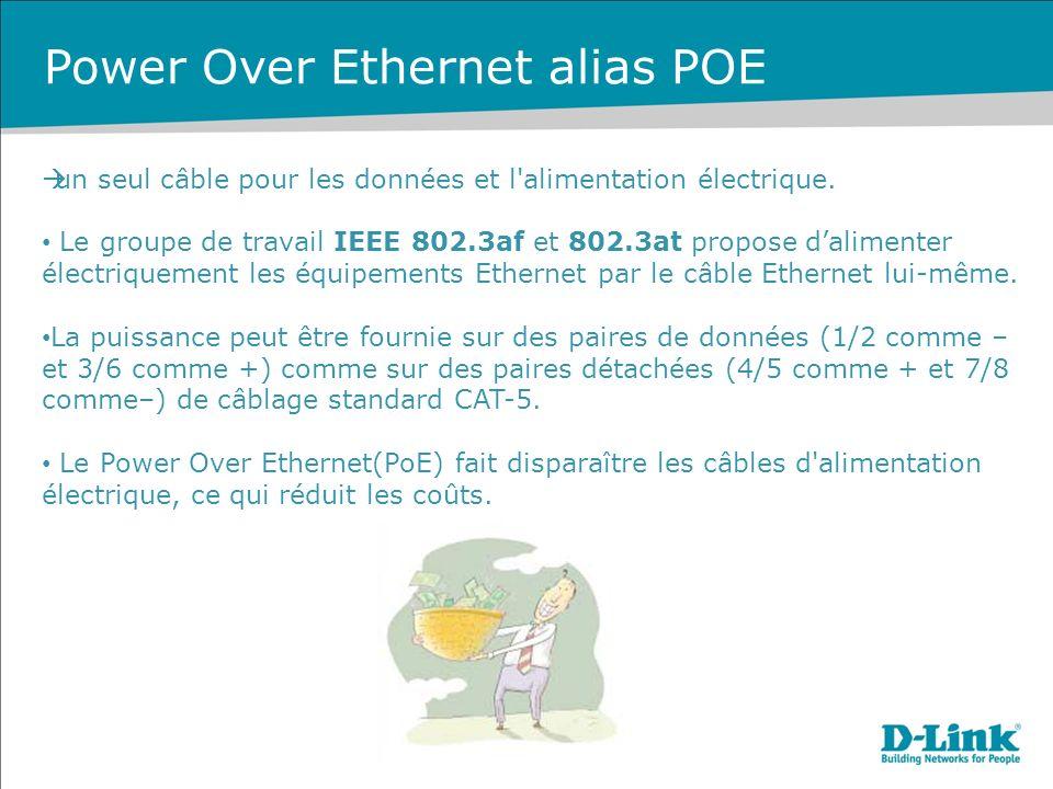 Power Over Ethernet alias POE un seul câble pour les données et l alimentation électrique.
