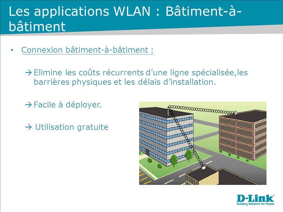 Connexion bâtiment-à-bâtiment : Elimine les coûts récurrents dune ligne spécialisée,les barrières physiques et les délais dinstallation.