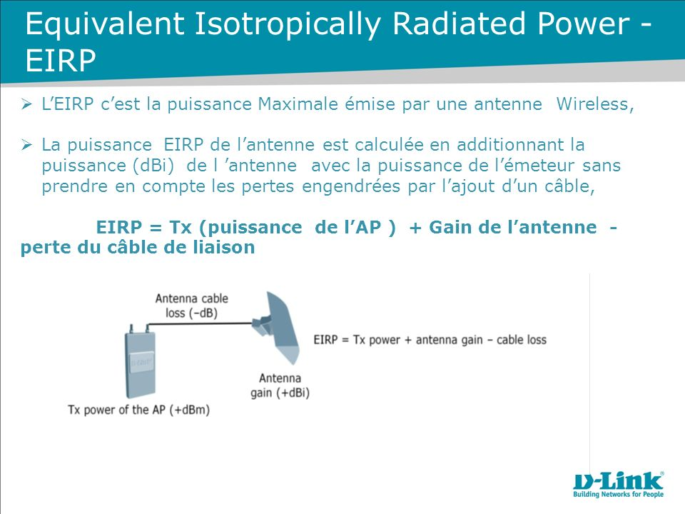 Equivalent Isotropically Radiated Power - EIRP LEIRP cest la puissance Maximale émise par une antenne Wireless, La puissance EIRP de lantenne est calc