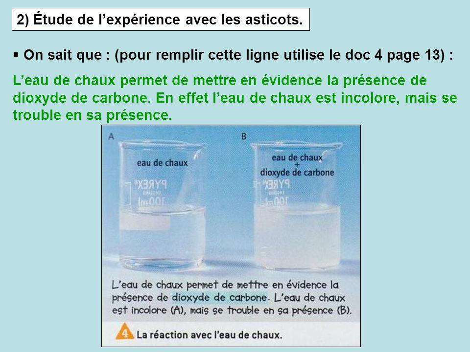 2) Étude de lexpérience avec les asticots. On sait que : (pour remplir cette ligne utilise le doc 4 page 13) : Leau de chaux permet de mettre en évide