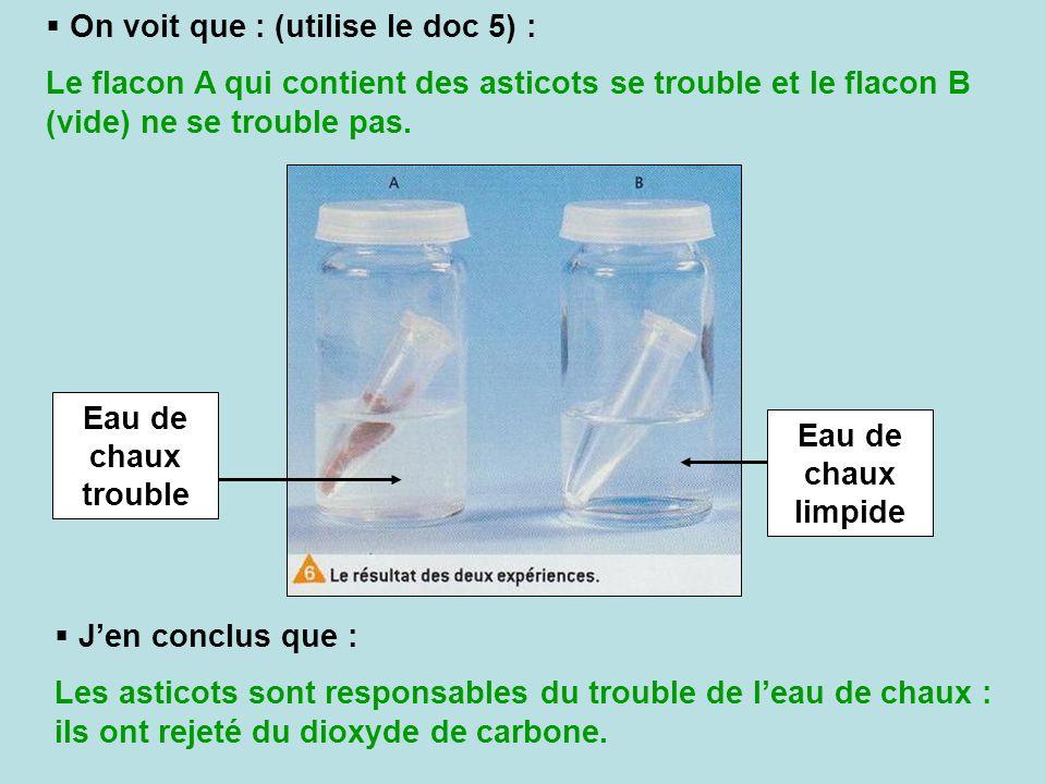 On voit que : (utilise le doc 5) : Le flacon A qui contient des asticots se trouble et le flacon B (vide) ne se trouble pas. Eau de chaux trouble Eau