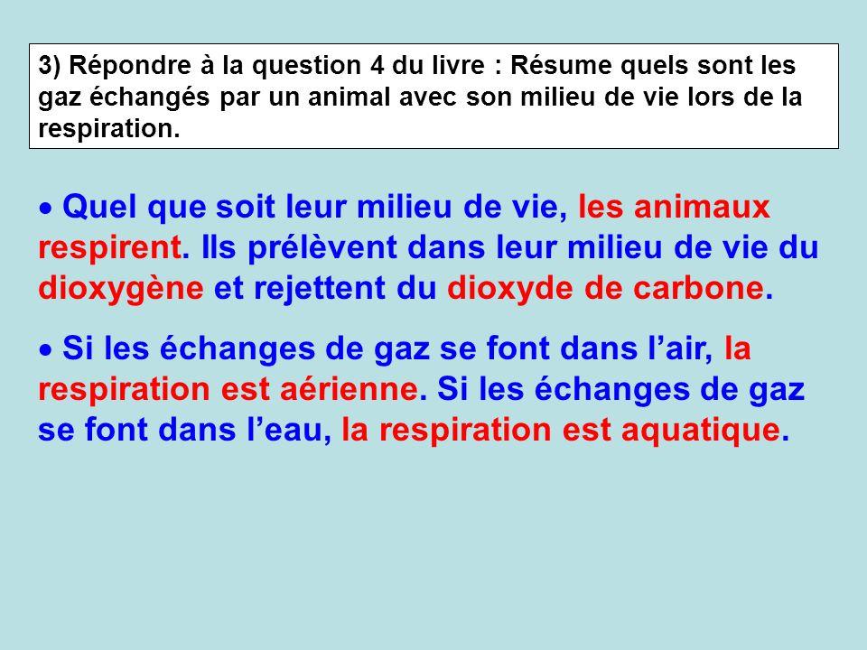 3) Répondre à la question 4 du livre : Résume quels sont les gaz échangés par un animal avec son milieu de vie lors de la respiration. Quel que soit l