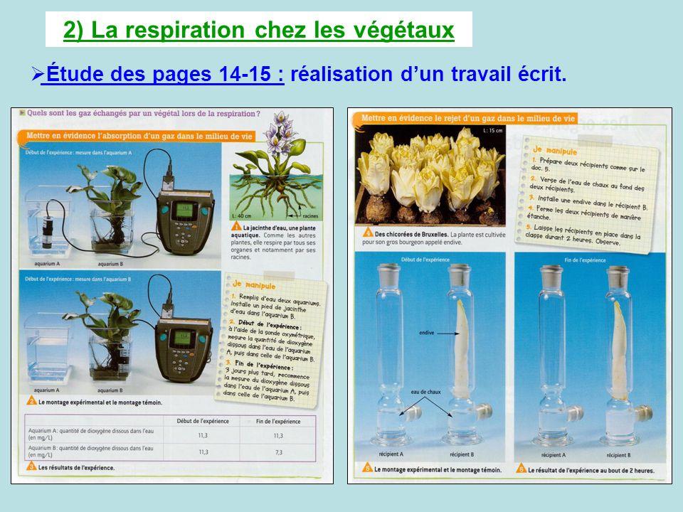 2) La respiration chez les végétaux Étude des pages 14-15 : réalisation dun travail écrit.