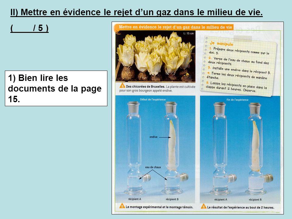 II) Mettre en évidence le rejet dun gaz dans le milieu de vie. ( / 5 ) 1) Bien lire les documents de la page 15.